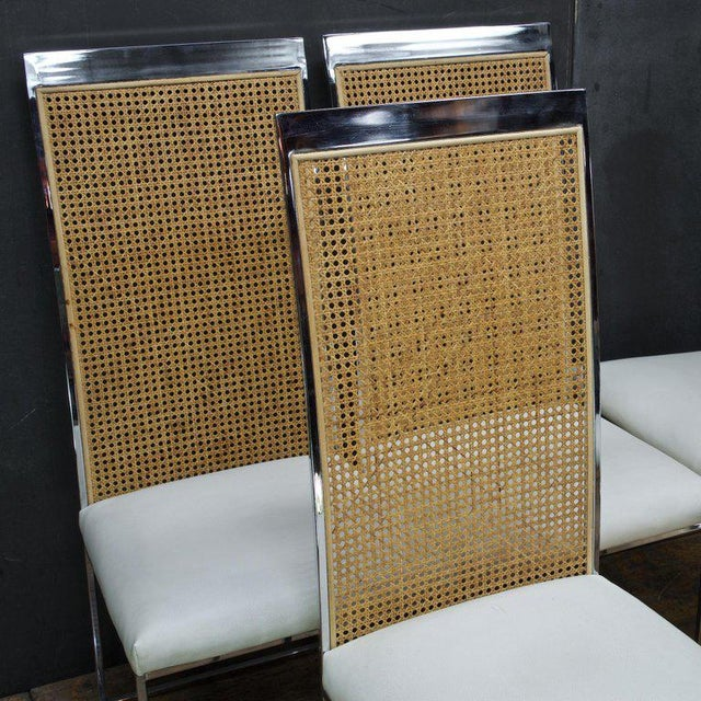 Six 1970s Milo Baughman High Back Cane Chrome Dining Chairs Postmodern Vintage For Sale - Image 10 of 11