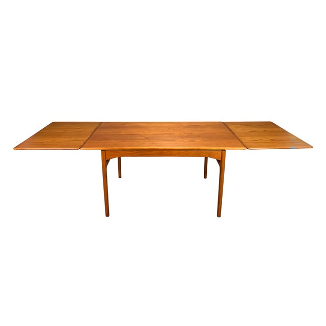 1960s Scandinavian Modern Teak Draw Leaf Dining Table For Sale - Image 11 of 11