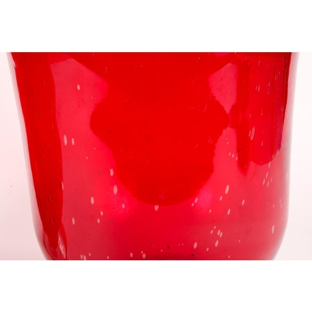 Cranberry Red Hurricane Vases- a Pair For Sale In New York - Image 6 of 9