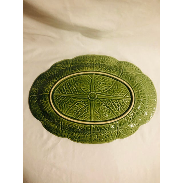 """This is a beautiful 15"""" x 10"""" oval Bordallo Pinherio platter in the cabbage pattern."""