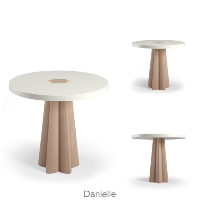 Not Yet Made - Made To Order Danielle Side Table - Black Cerused Oak - Summer Mist Blue For Sale - Image 5 of 6