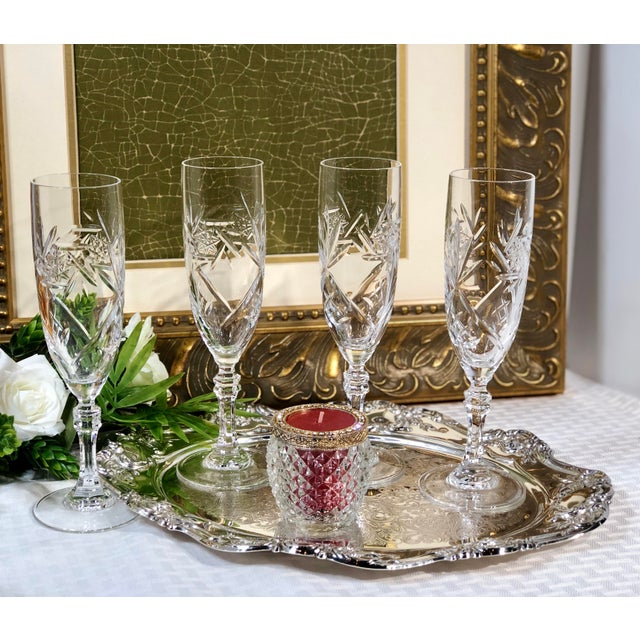 English Mid 20th Century Cristal De Paris Lead Crystal Hand Cut Champagne Glasses - Set of 4 For Sale - Image 3 of 8