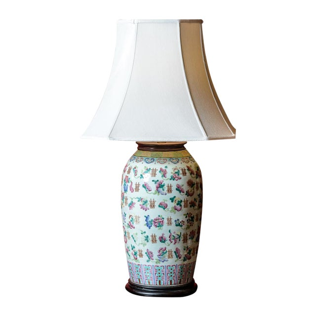 Large Asian Porcelain Table Lamp For Sale