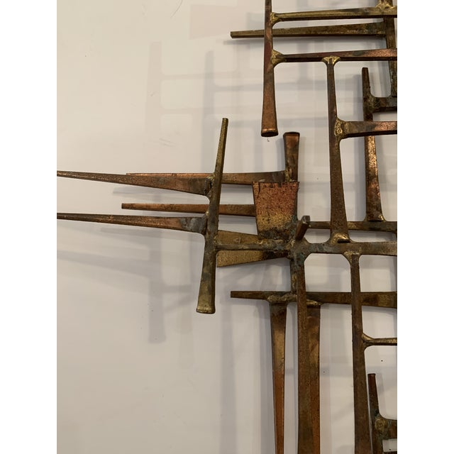 Abstract Mid Century Modern Brass Wall Sculpture For Sale - Image 4 of 11