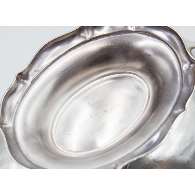 Mid 20th Century Reed & Barton Silver Plate Lion Heads Oval Pedestal Bowl For Sale - Image 5 of 7