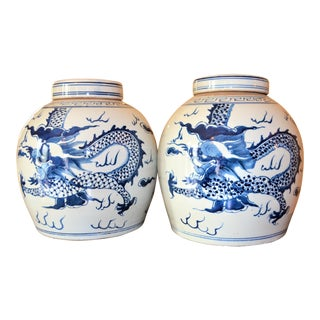 Chinoiserie Dragon Ginger Jars - A Pair For Sale
