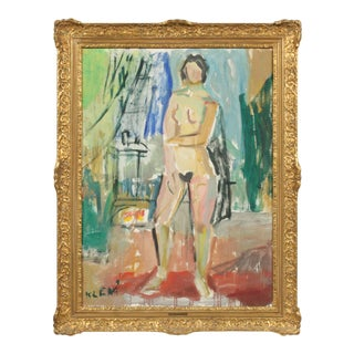 Mid-Century Impressionist Painting of a Colorful Portrait of a Nude Woman by Eugenij Kleno For Sale