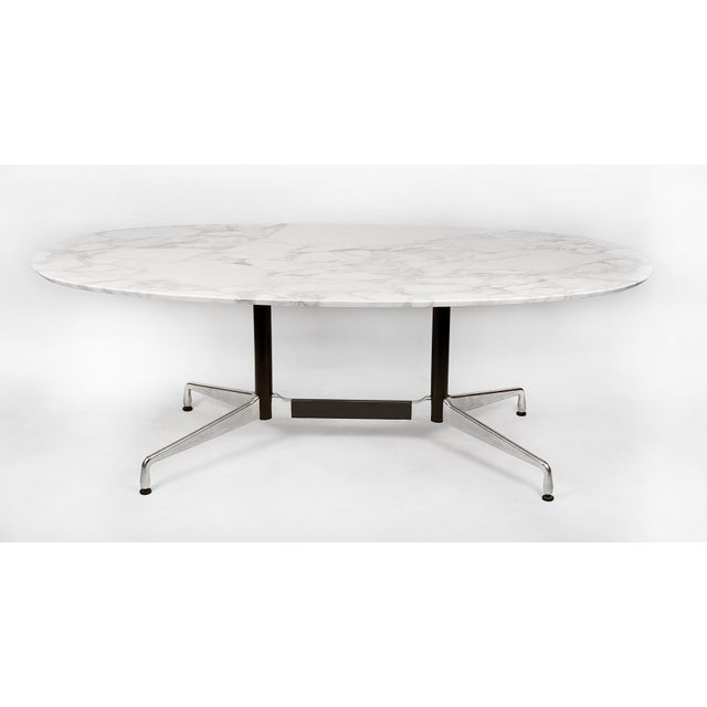 Metal Charles Eames for Herman Miller Aluminum Group Calacatta Marble Table Desk For Sale - Image 7 of 8