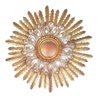 1940s Vintage Italian Giltwood Sunburst Mirror For Sale