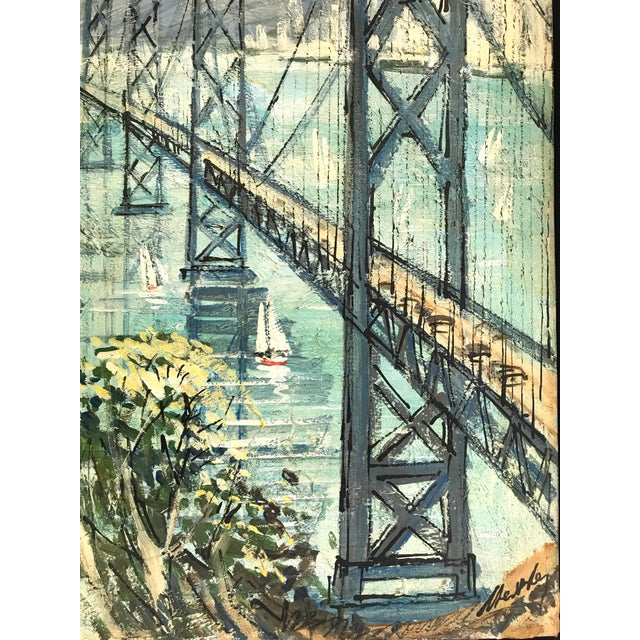 San Francisco - Oakland Bay Bridge Oil on Board For Sale - Image 4 of 8