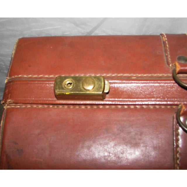 Vintage Leather Gladiator Suitcase - Image 4 of 10