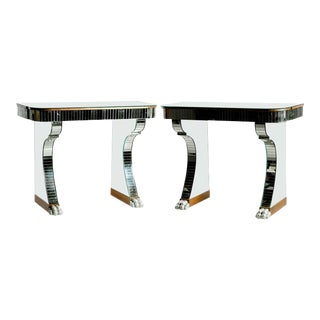 Serge Roche Style Mirrored Console Tables with Claw Style Feet - A Pair For Sale