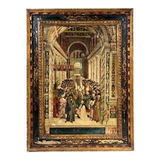 "Vintage Pope Pius II Religious ""painting"" Wood Panel For Sale"