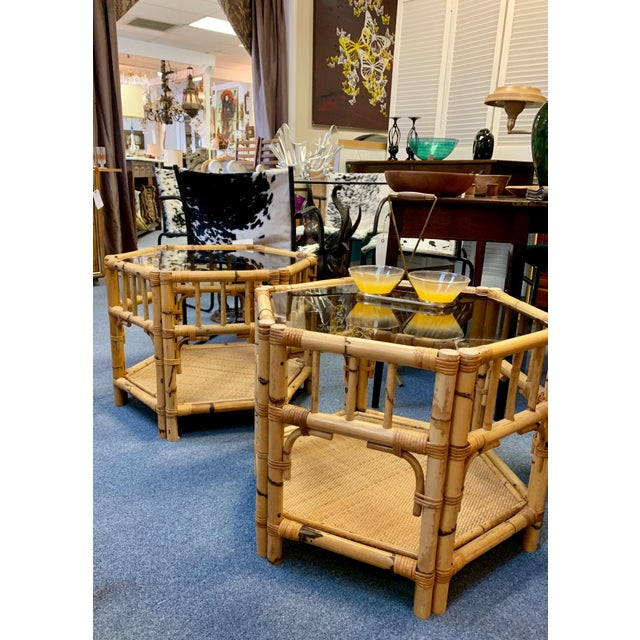 1960s Boho Chic Octagonal Rattan and Bamboo End Tables With Glass Tops - a Pair For Sale - Image 10 of 12