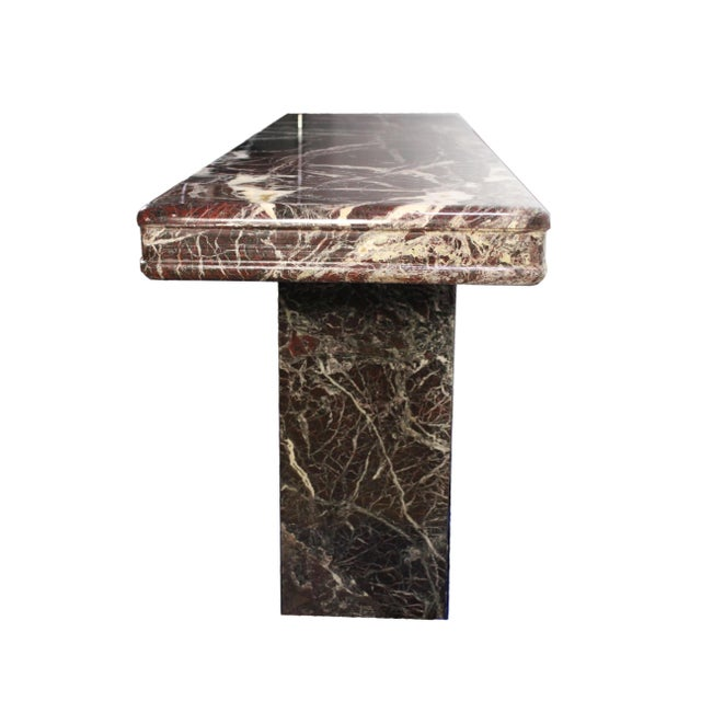 1980s Vintage Italian Modernist Black & Red Marble Entry Hall Console For Sale - Image 5 of 7