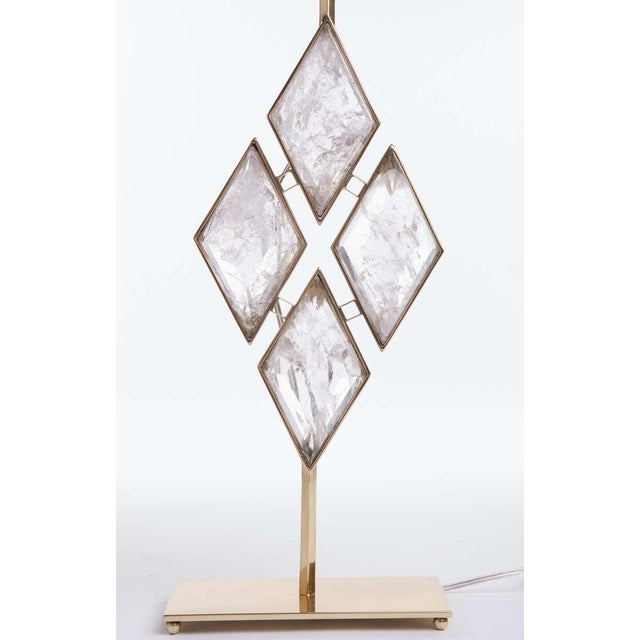 Early 21st Century Rock Crystal and Brass Diamond Lamps - a Pair For Sale - Image 5 of 6