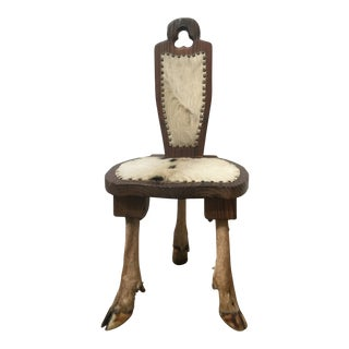 Antique Deer Hunt Trophy Small Chair For Sale