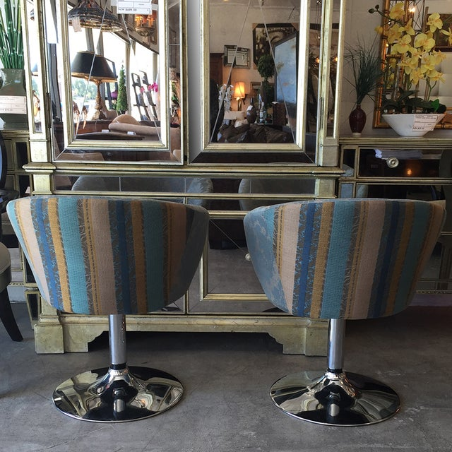 Vintage Custom Teal Swivel Chairs - A Pair - Image 6 of 11