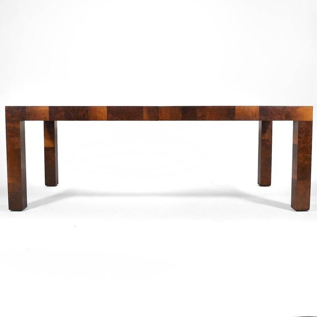 Mid-Century Modern Paul Evans Parsons Table in Burl Patchwork For Sale - Image 3 of 9