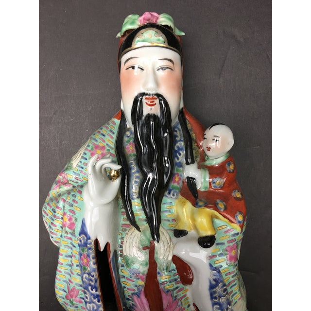 Ceramic Chinese Porcelain Deities, Fu, Lu, Shou Wall Hanging Figures - Set of 3 For Sale - Image 7 of 10