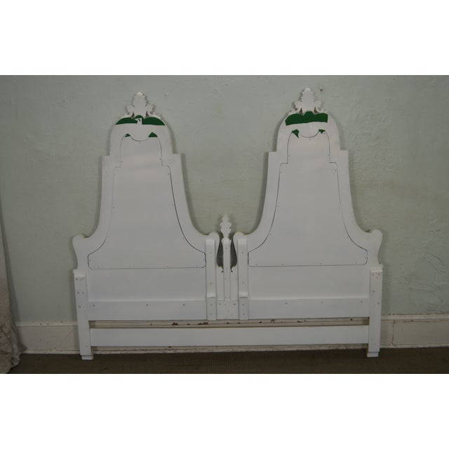 Karges Furniture Karges Vintage Hand Paint Decorated King Size Headboard For Sale - Image 4 of 12