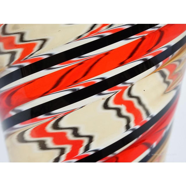 Glass Fratelli Toso 'a Canne' Vase In Red, Yellow And Black, Murano, Italy Ca. 1965 For Sale - Image 7 of 9