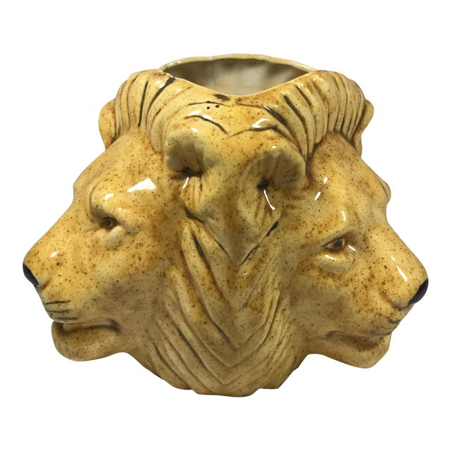Mid-Century Lion Head Planter or Vase For Sale