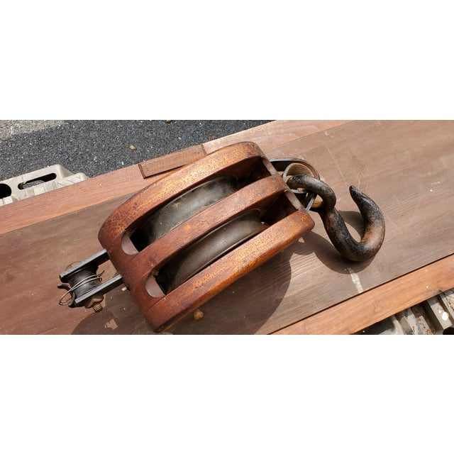 Large, Heavy Block and Tackle, super handsome. Would be superb in any number of spaces and can be used for lifting as it...