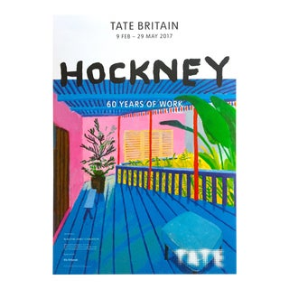 "David Hockney Lithograph Print Tate Museum ""60 Years of Work"" Exhibition Poster For Sale"