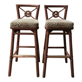 McGuire Rattan Target Counter Stools - A Pair