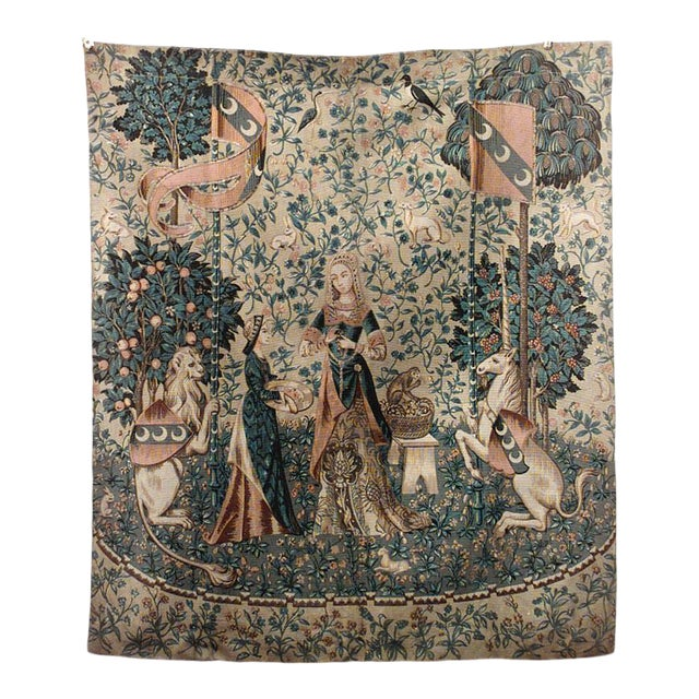 English Renaissance Painted Cloth of Ladies & Mythical Creatures For Sale
