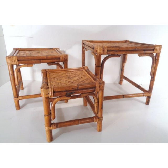 Wood Mid Century Organic Modern Bamboo Side Nesting Tables For Sale - Image 7 of 11