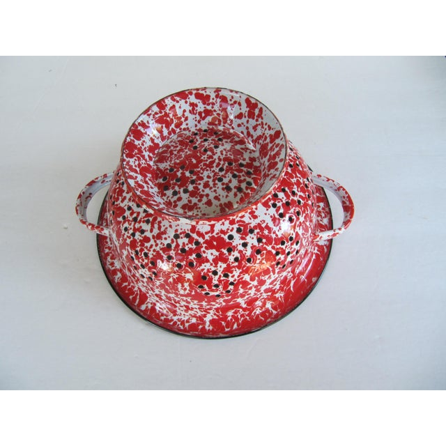 Country Vintage Spatterware Strainer For Sale - Image 3 of 6