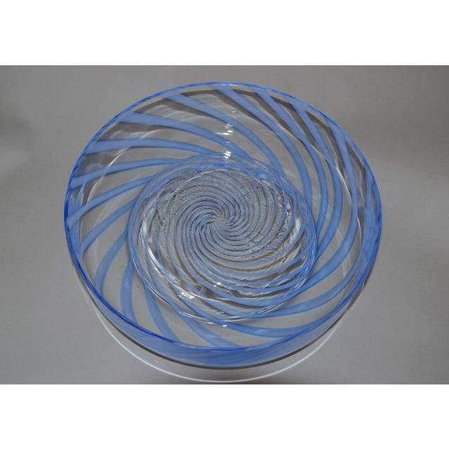 Original Tommaso Barbi Italian Murano Clear & Blue Decorative Candy Dish Bowl For Sale - Image 9 of 11