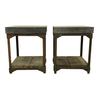 Early 20th Century Industrial Tables - a Pair For Sale