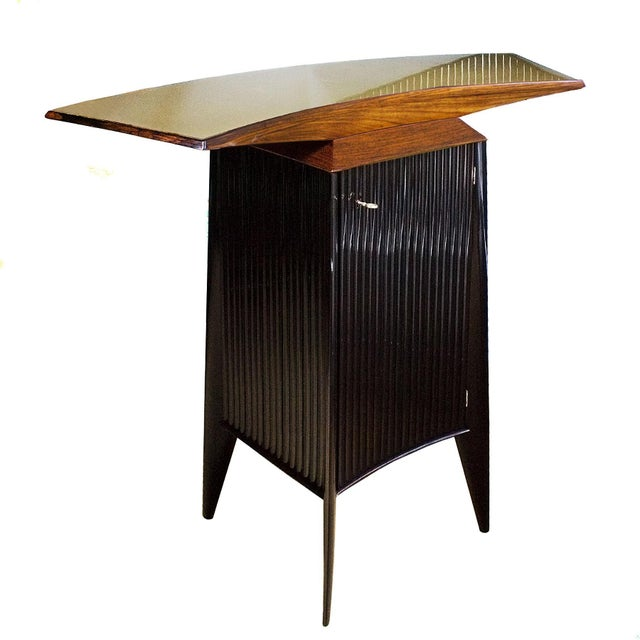 1950s Bar Counter and Vitrine, Mahogany, Sycamore, Golden Glass, Italy For Sale - Image 9 of 13