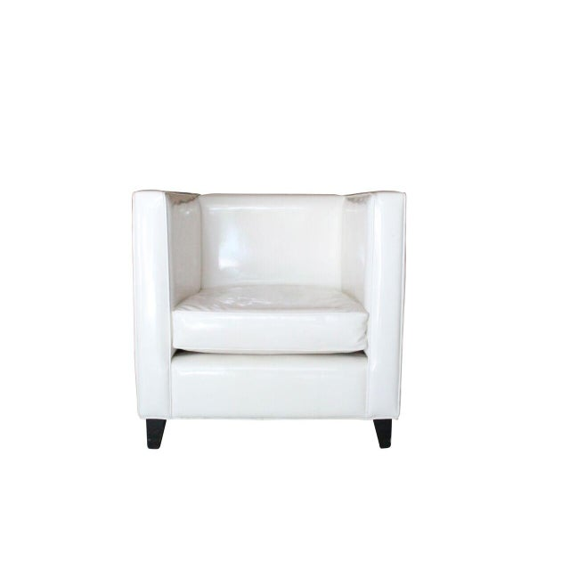 Modern White Club Chairs - A Pair - Image 4 of 4