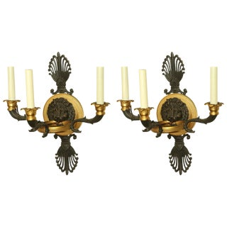 Pair of Empire Bronze Lion Head Sconces For Sale