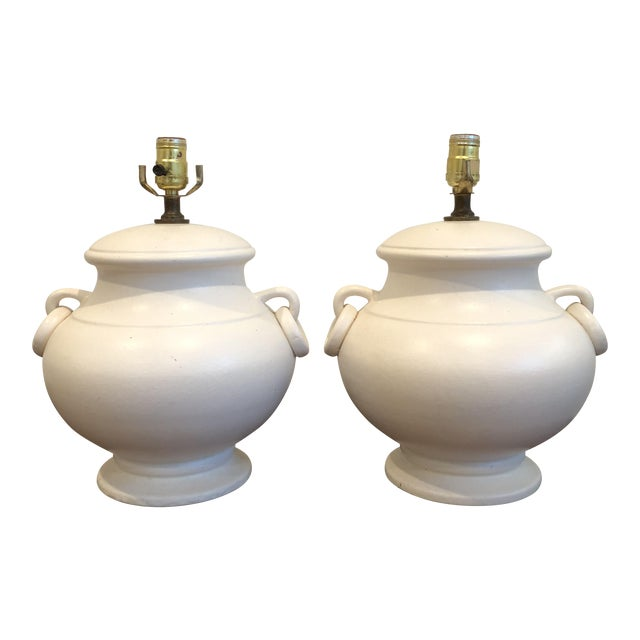 Mid-Century Ceramic Urn Amphora Form Lamps - A Pair For Sale