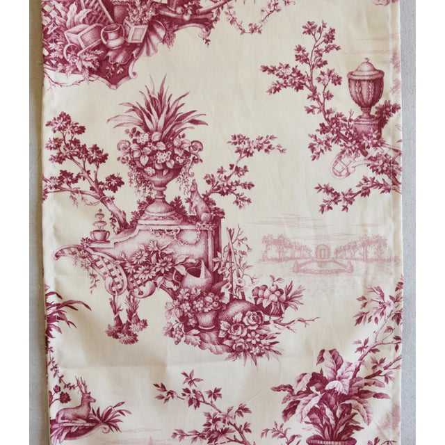 "Custom French Floral & Urn Toile Table Runner 110"" Long For Sale In Los Angeles - Image 6 of 8"