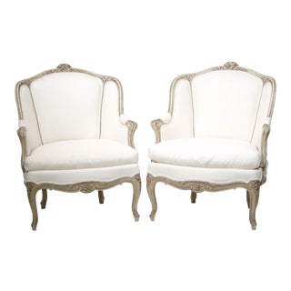 Pair of Late 19th Century French Bergeres For Sale