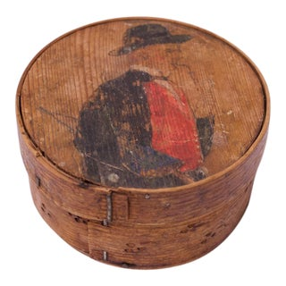 Antique English Snuff Box / Pipe Tobacco Case With Hand-Painted Decoration For Sale