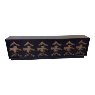 Unusual Black Lacquer Asian Style Media Credenza Console For Sale