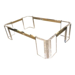 Vintage Michael Oguns Signed Hollywood Regency Lucite Brass Coffee Cocktail Table For Sale