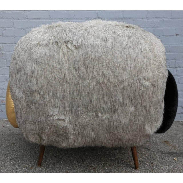Pink Faux Fur and Leather Lounge Chair For Sale - Image 8 of 9