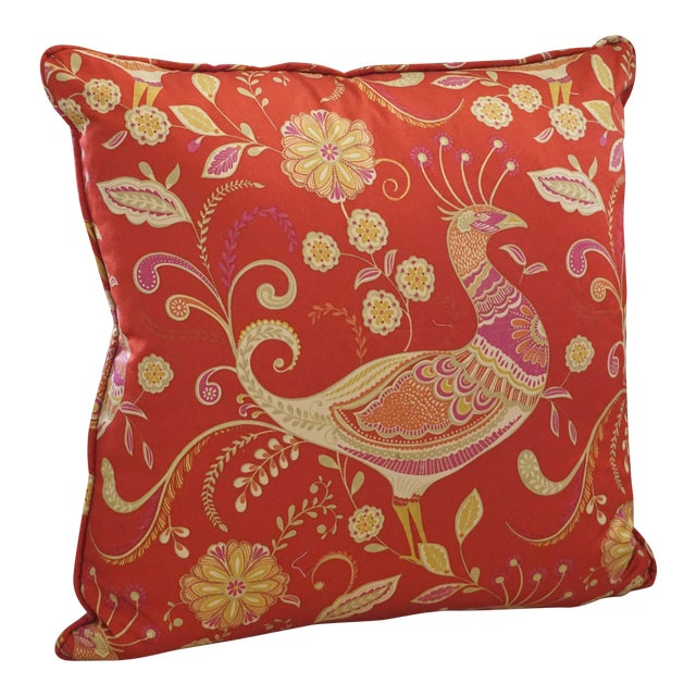 Red Chinoiserie Peacock Pillow For Sale