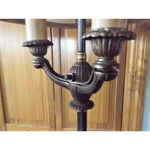 Black 1930s Vintage Victorian Iron & Brass Floor Lamp For Sale - Image 8 of 11