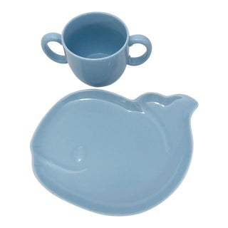 Tiffany & Co. Tiffany Tots Blue Whale Shaped Porcelain Plate and Cup - 2 Pc. Set For Sale
