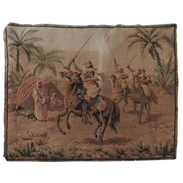 Orientalist Arabs on Horse Hunting Scene Tapestry For Sale