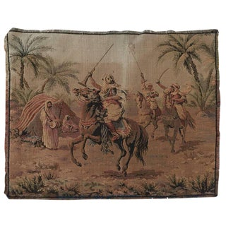 Orientalist Tapestry With Arabs on Horse Hunting Scene in Aubusson Style For Sale